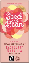 Seed & Bean Organic Raspberry & Vanilla White Chocolate 85g
